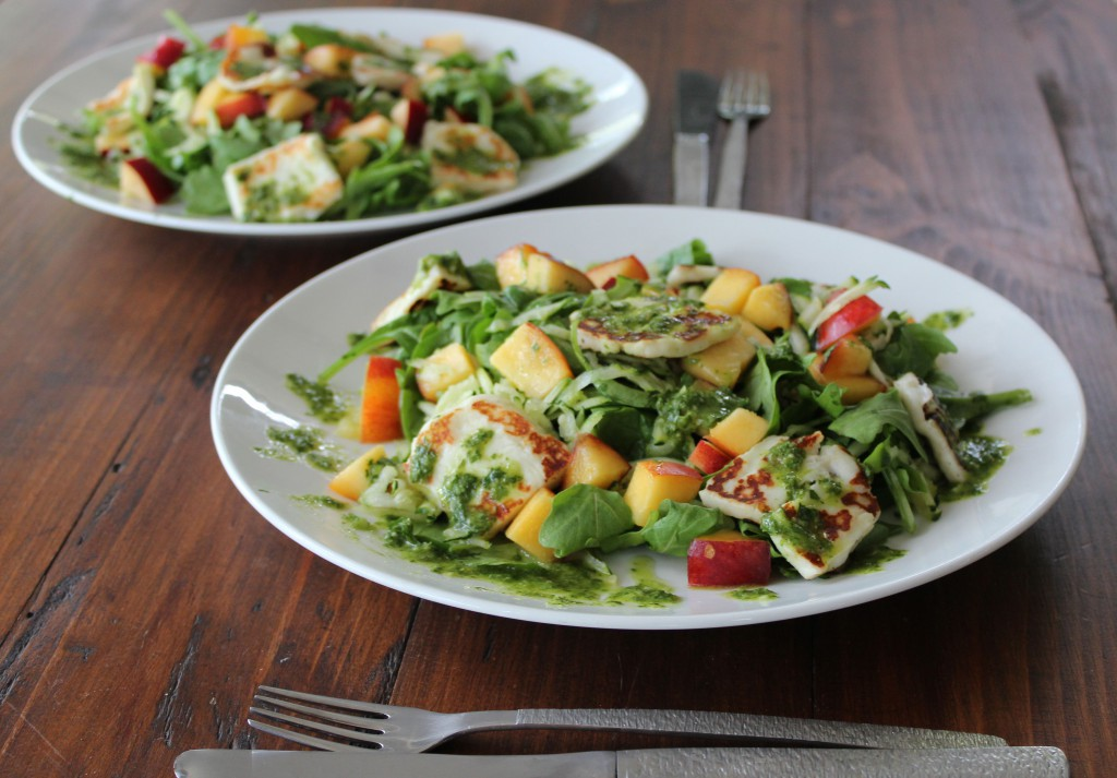 Haloumi & Nectarine Salad with Parsley Mint Dressing