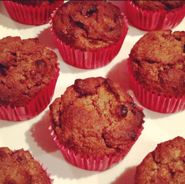 Chocolate, Banana & Raspberry Muffins