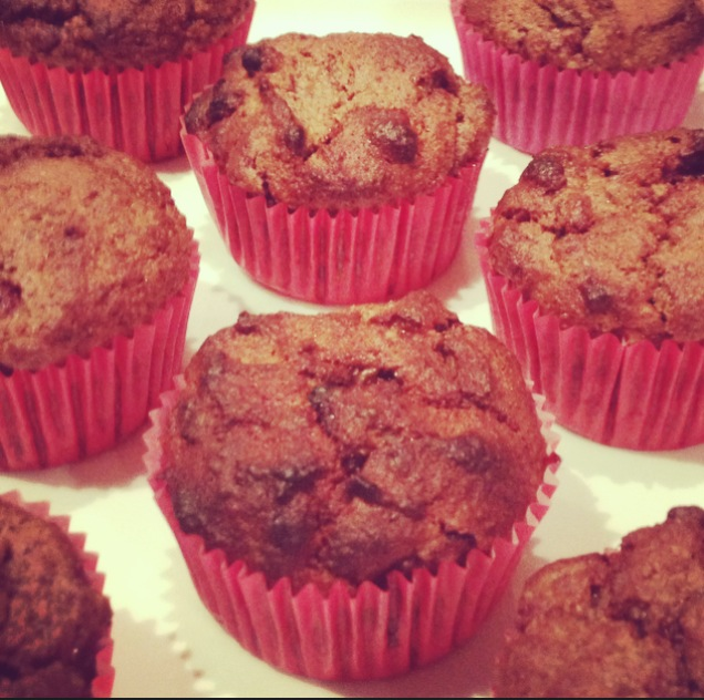 Raspberry, Banana & Chocolate Muffins