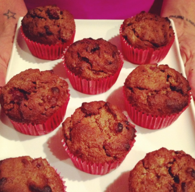 Banana, Chocolate & Raspberry Muffins