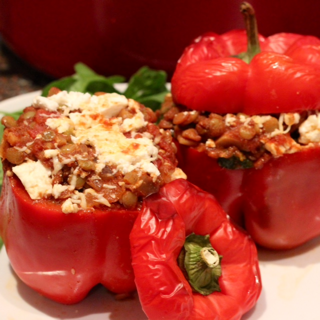 Spicy Stuffed Peppers with Lentils